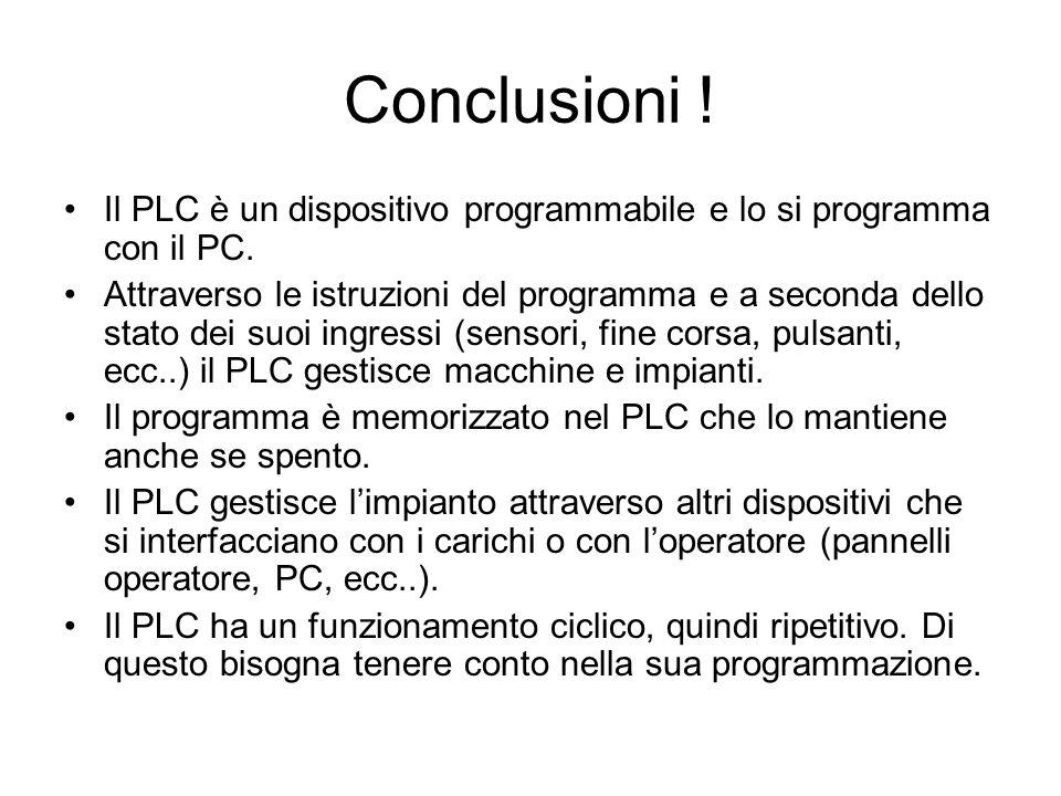 Conclusioni ! Il PLC è un dispositivo programmabile e lo si programma con il PC.