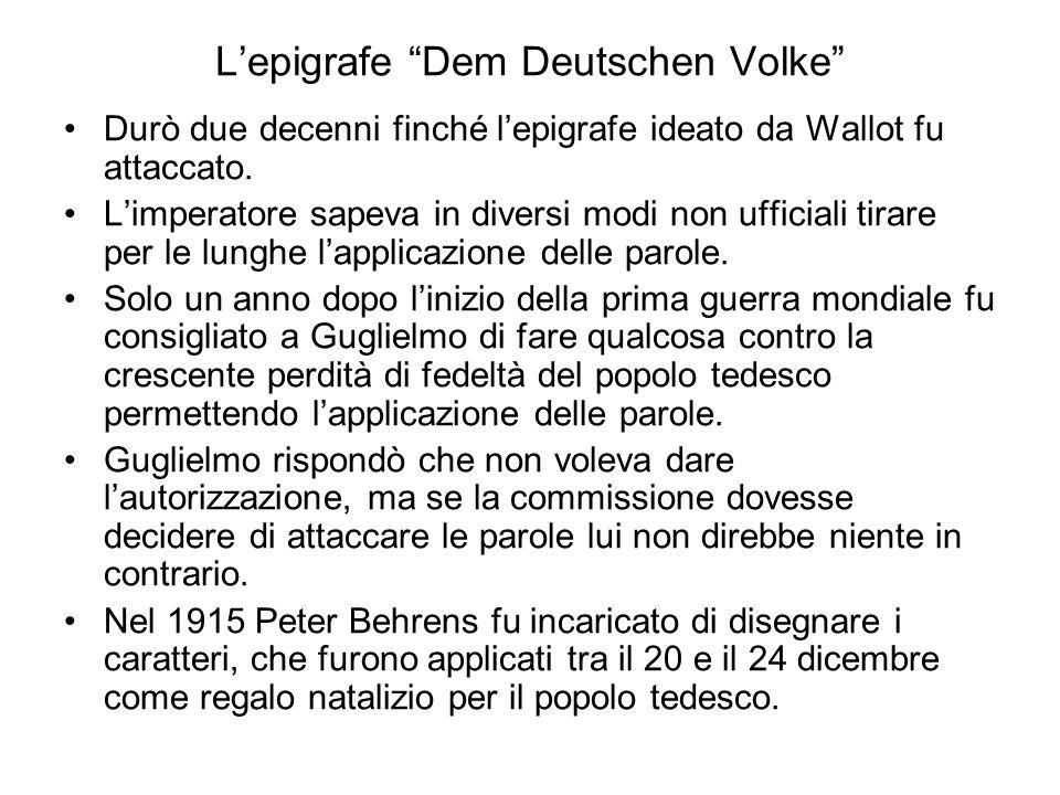 L'epigrafe Dem Deutschen Volke