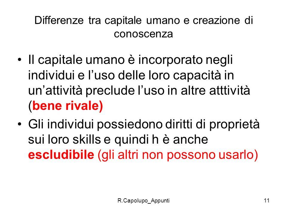 Differenze tra capitale umano e creazione di conoscenza