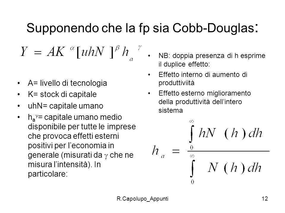 Supponendo che la fp sia Cobb-Douglas: