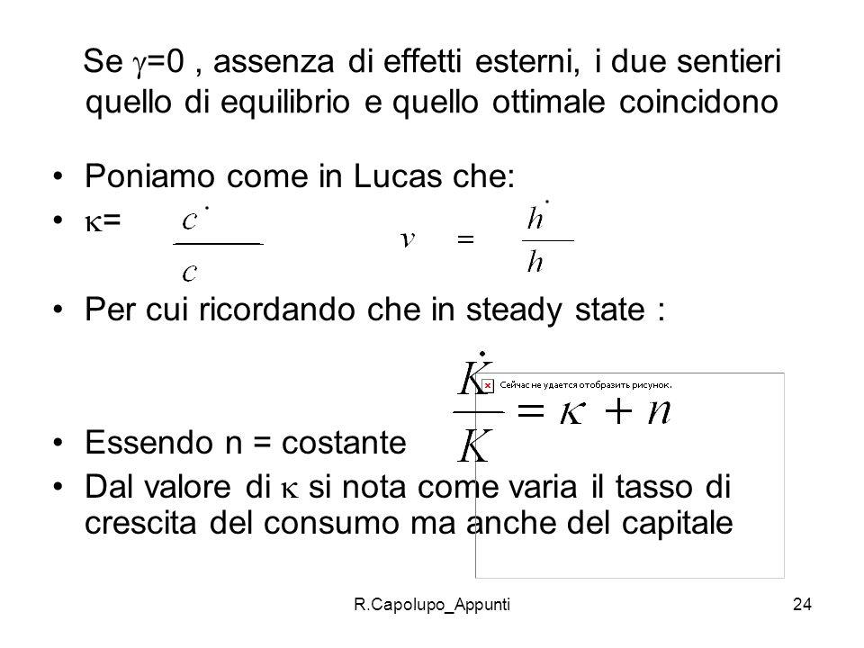 Poniamo come in Lucas che: = Per cui ricordando che in steady state :