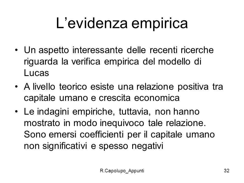 L'evidenza empiricaUn aspetto interessante delle recenti ricerche riguarda la verifica empirica del modello di Lucas.