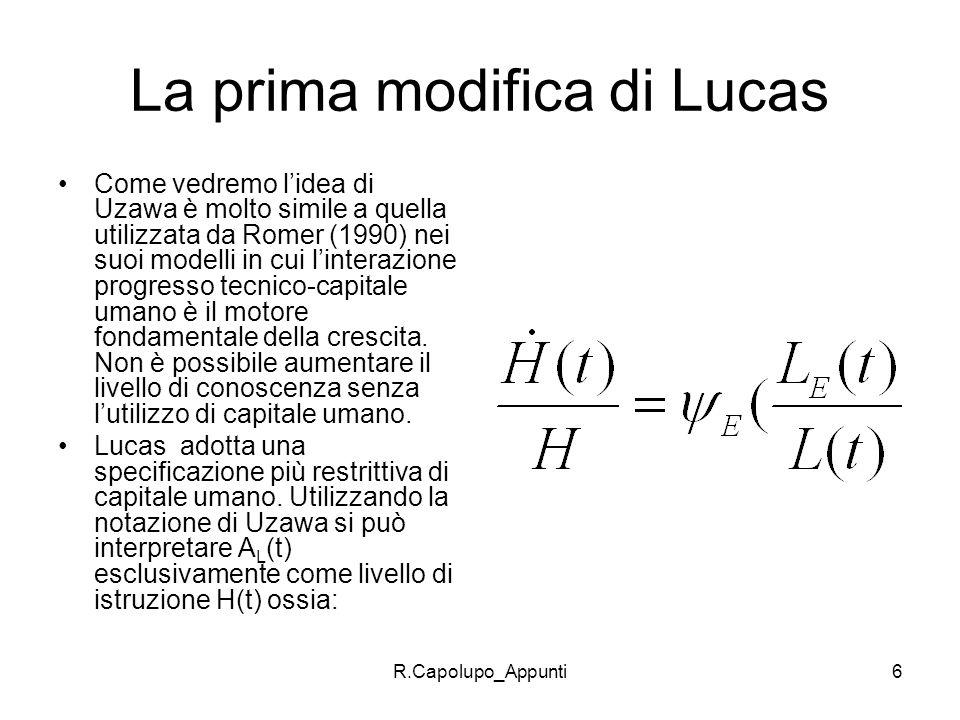La prima modifica di Lucas