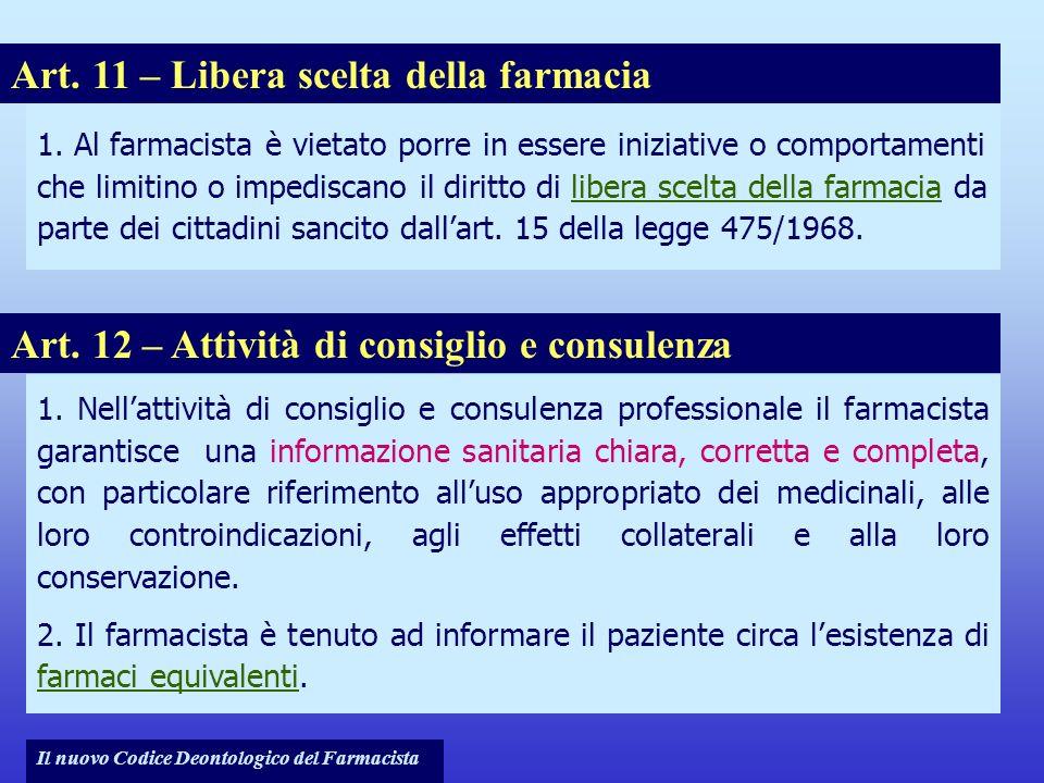 Art. 11 – Libera scelta della farmacia
