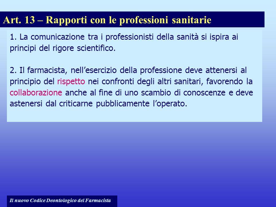 Art. 13 – Rapporti con le professioni sanitarie