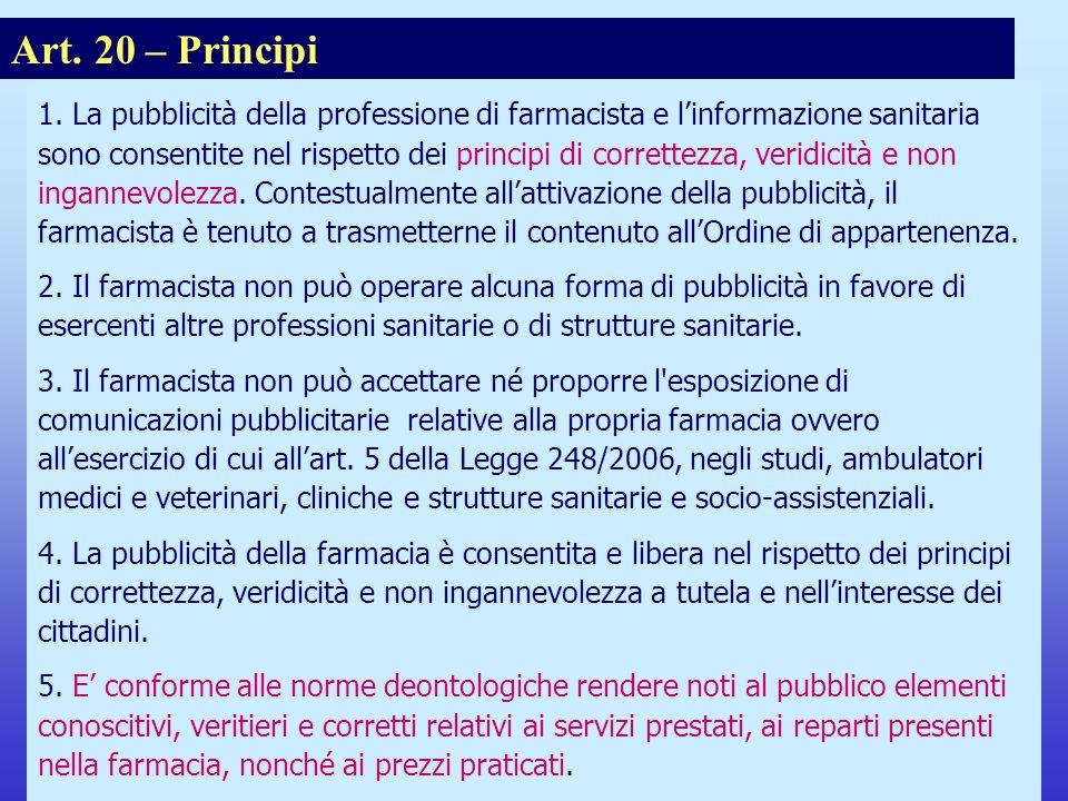 Note per il relatore Art. 20 – Principi.