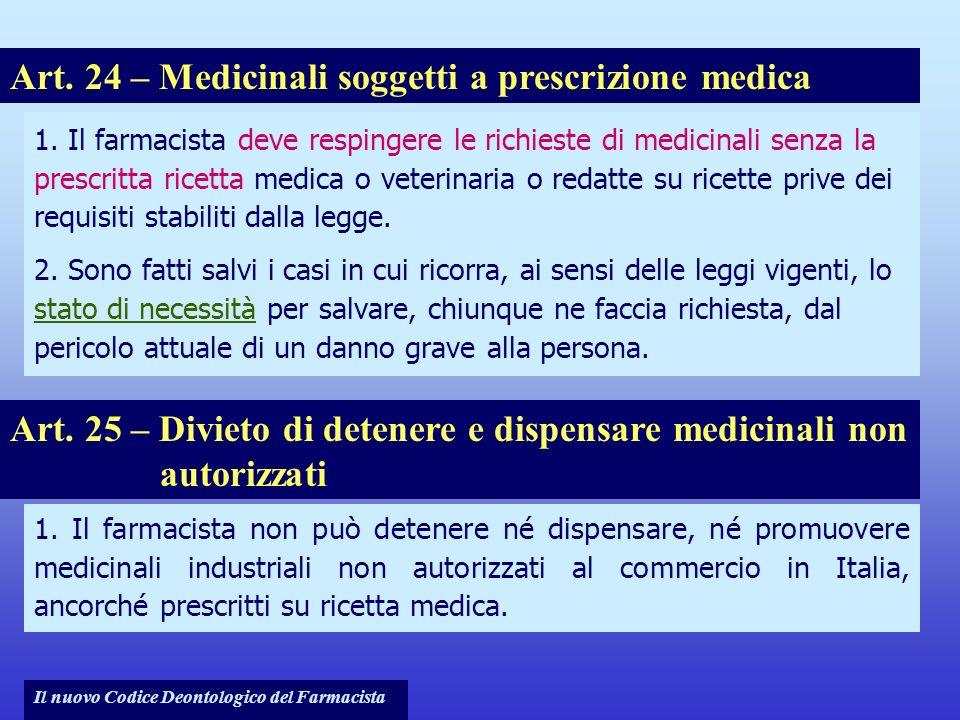Art. 24 – Medicinali soggetti a prescrizione medica