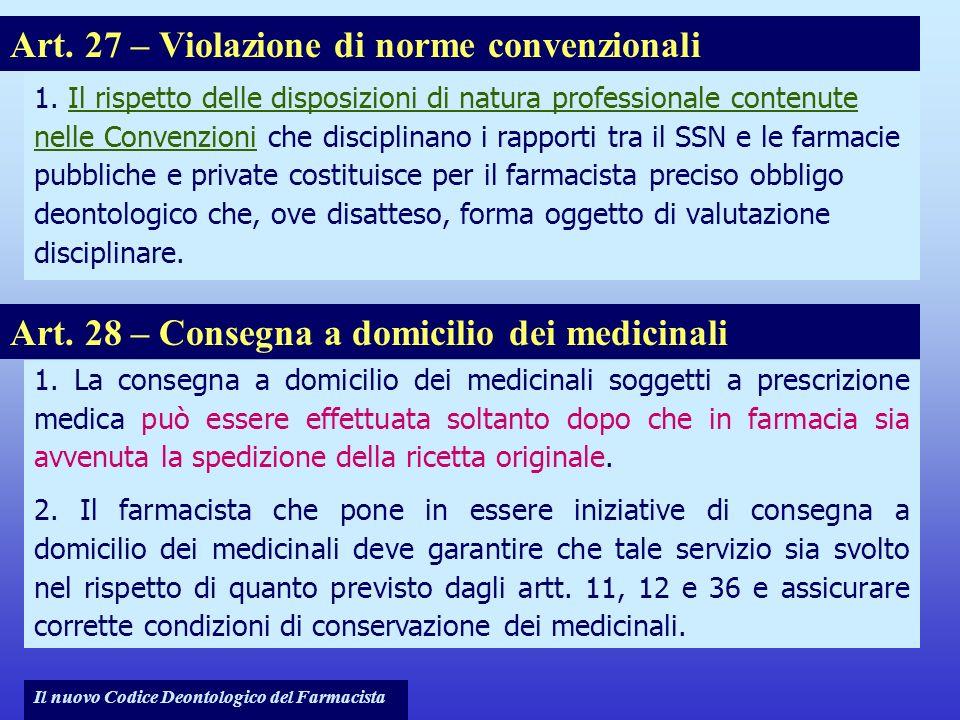 Art. 27 – Violazione di norme convenzionali