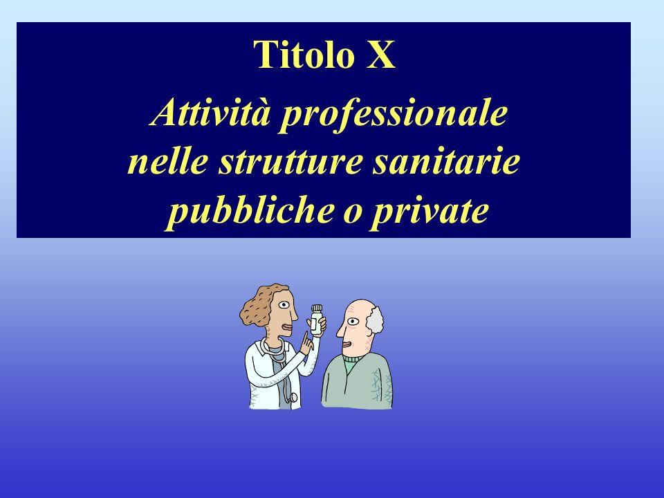 Note per il relatore Titolo X Attività professionale nelle strutture sanitarie pubbliche o private.