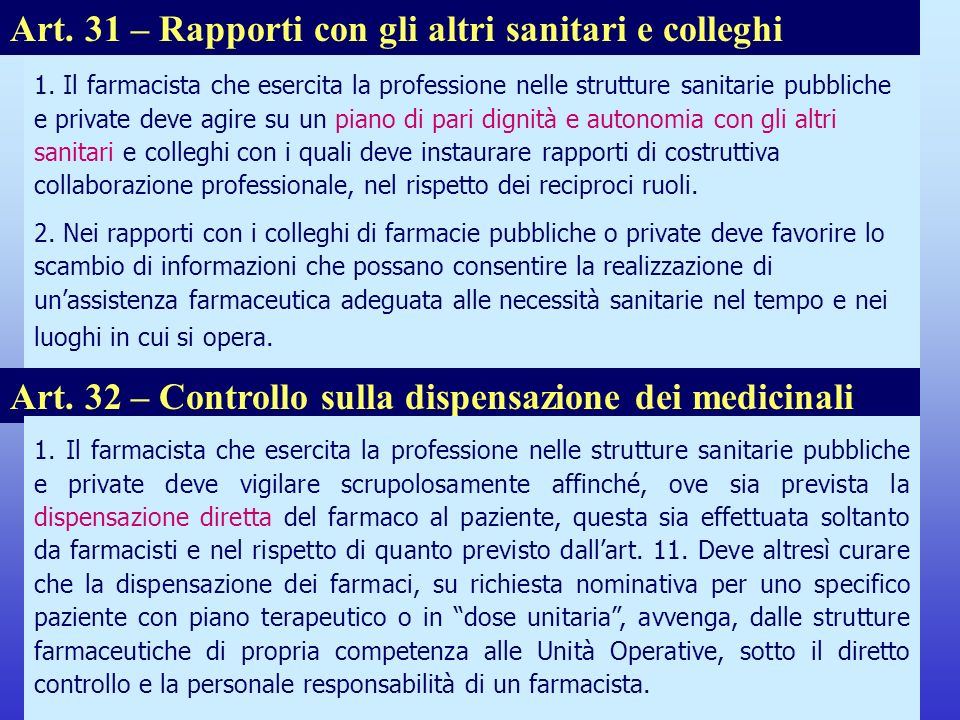 Art. 31 – Rapporti con gli altri sanitari e colleghi