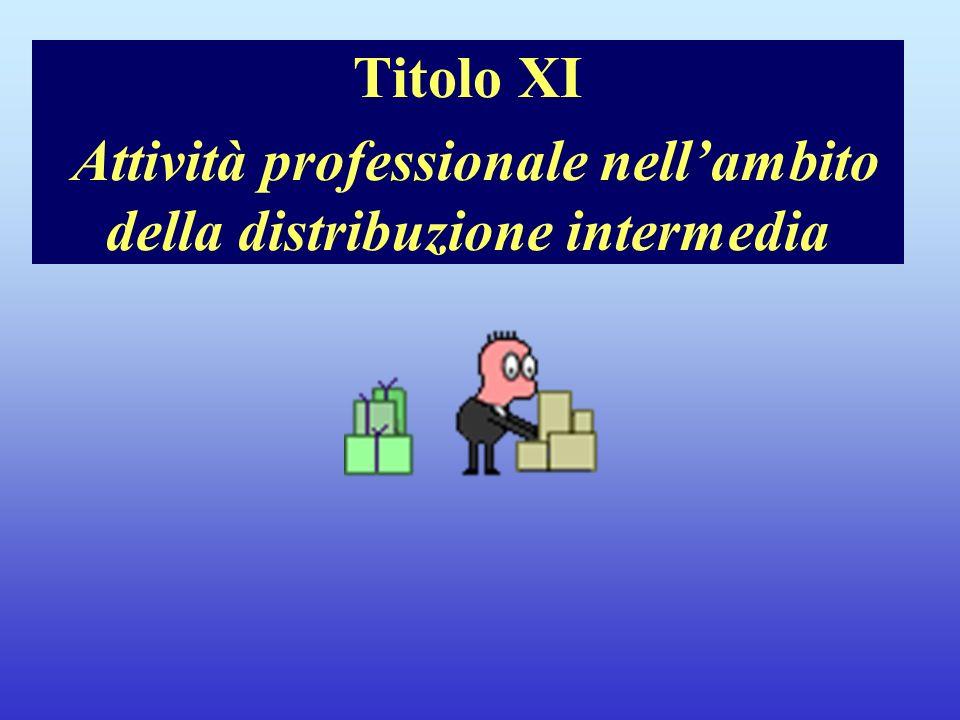 Note per il relatore Titolo XI Attività professionale nell'ambito della distribuzione intermedia