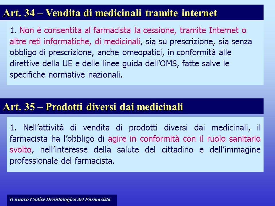 Art. 34 – Vendita di medicinali tramite internet