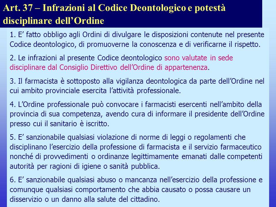 Note per il relatore Art. 37 – Infrazioni al Codice Deontologico e potestà disciplinare dell'Ordine.