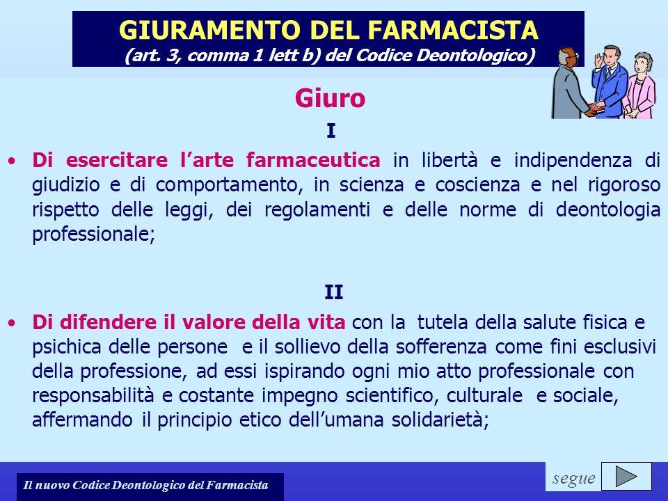 Note per il relatore GIURAMENTO DEL FARMACISTA (art. 3, comma 1 lett b) del Codice Deontologico) Giuro