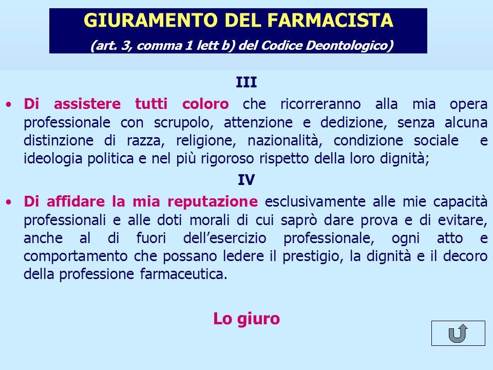 Note per il relatore GIURAMENTO DEL FARMACISTA (art. 3, comma 1 lett b) del Codice Deontologico) III.