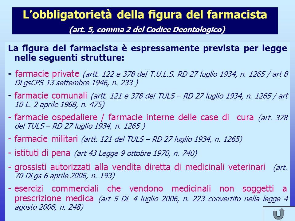 Note per il relatore L'obbligatorietà della figura del farmacista (art. 5, comma 2 del Codice Deontologico)