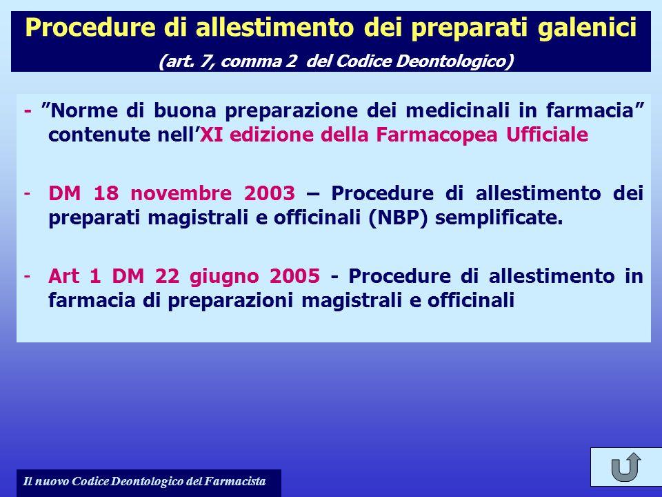 Procedure di allestimento dei preparati galenici (art