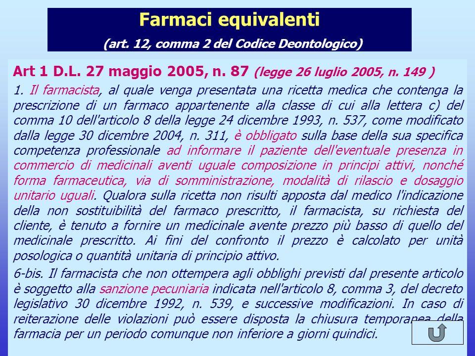 Farmaci equivalenti (art. 12, comma 2 del Codice Deontologico)