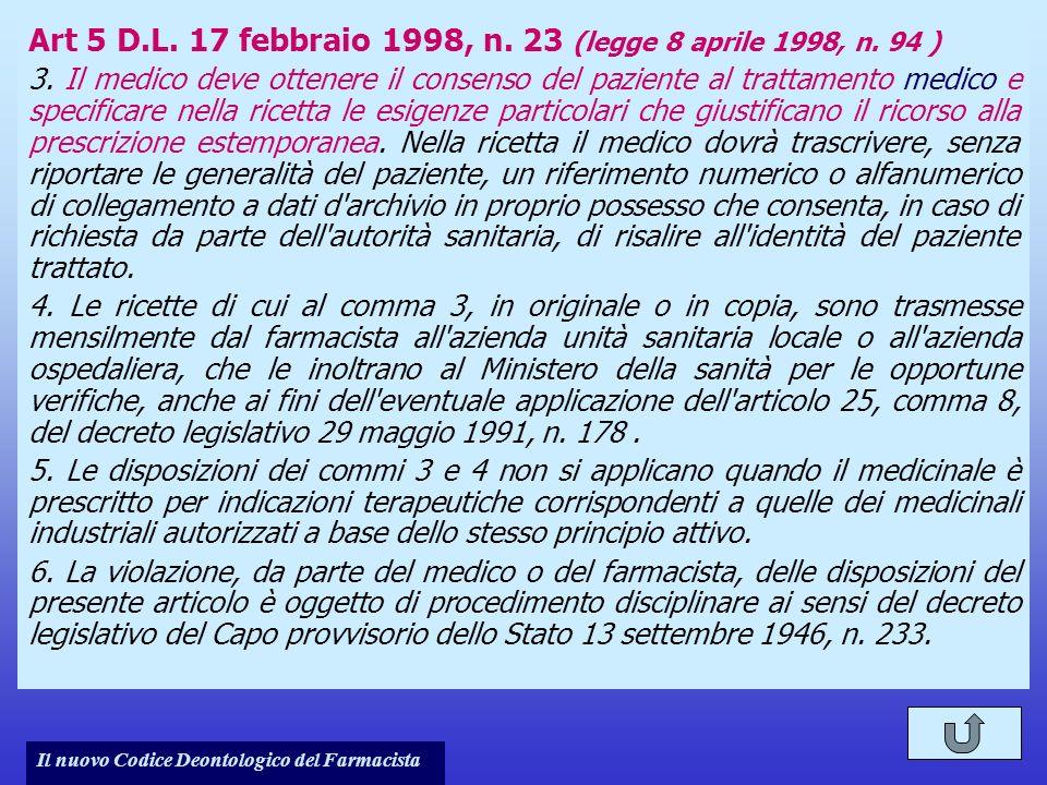 Art 5 D.L. 17 febbraio 1998, n. 23 (legge 8 aprile 1998, n. 94 )