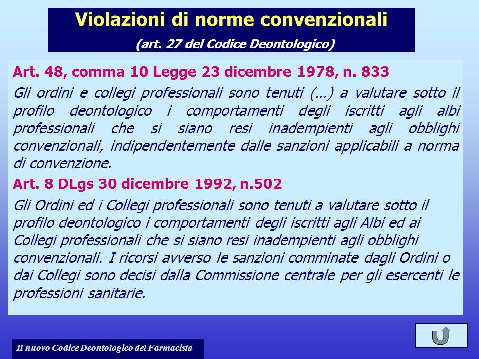 Violazioni di norme convenzionali (art. 27 del Codice Deontologico)