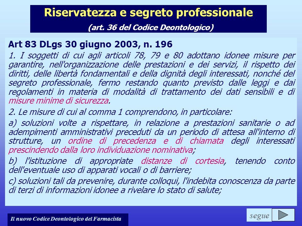 Riservatezza e segreto professionale (art. 36 del Codice Deontologico)