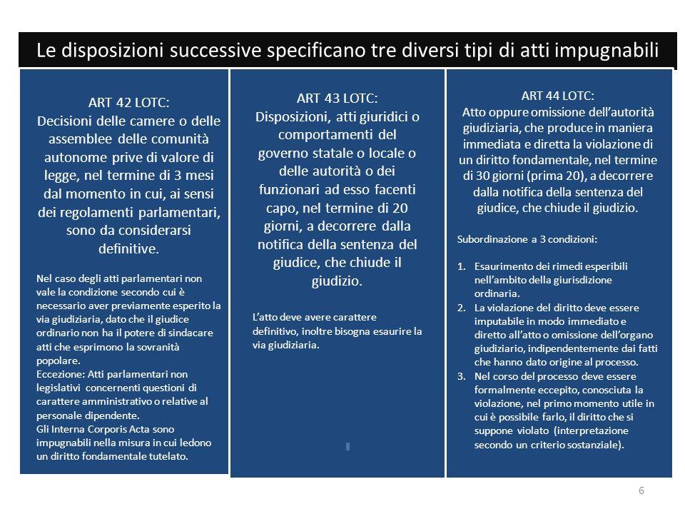 Le disposizioni successive specificano tre diversi tipi di atti impugnabili