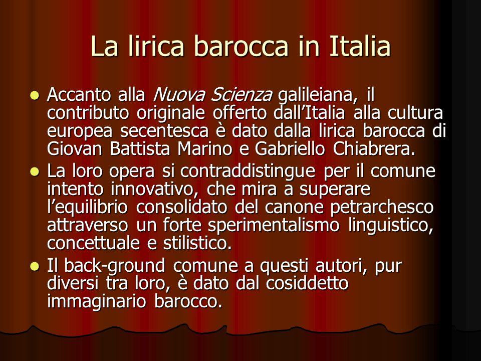 La lirica barocca in Italia