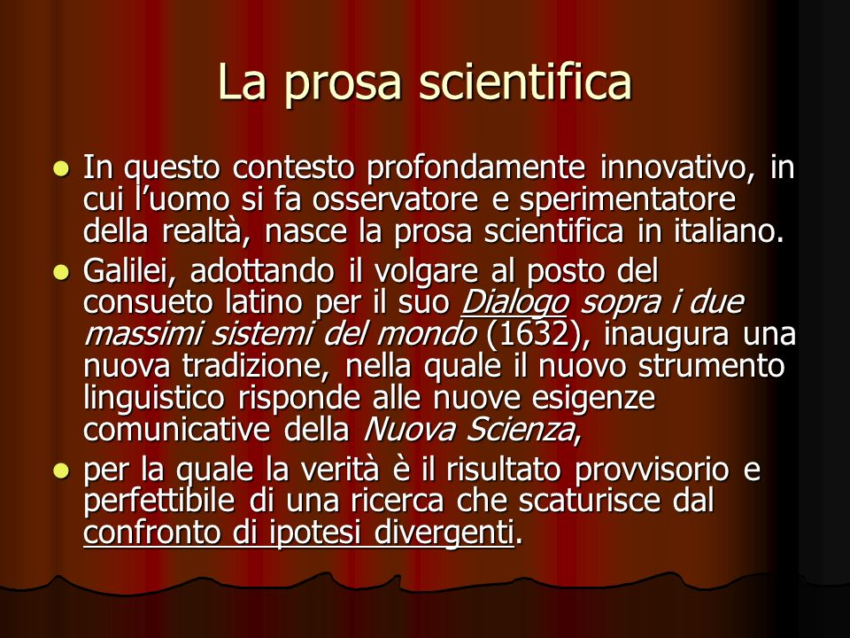 La prosa scientifica