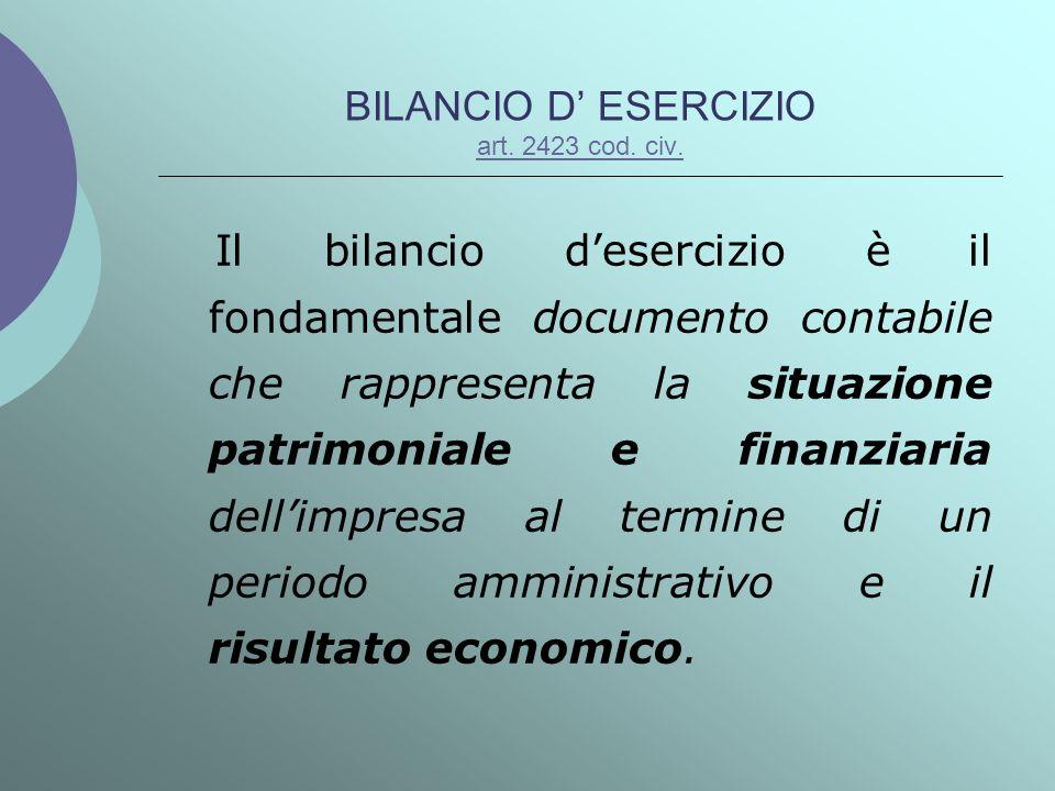 BILANCIO D' ESERCIZIO art. 2423 cod. civ.
