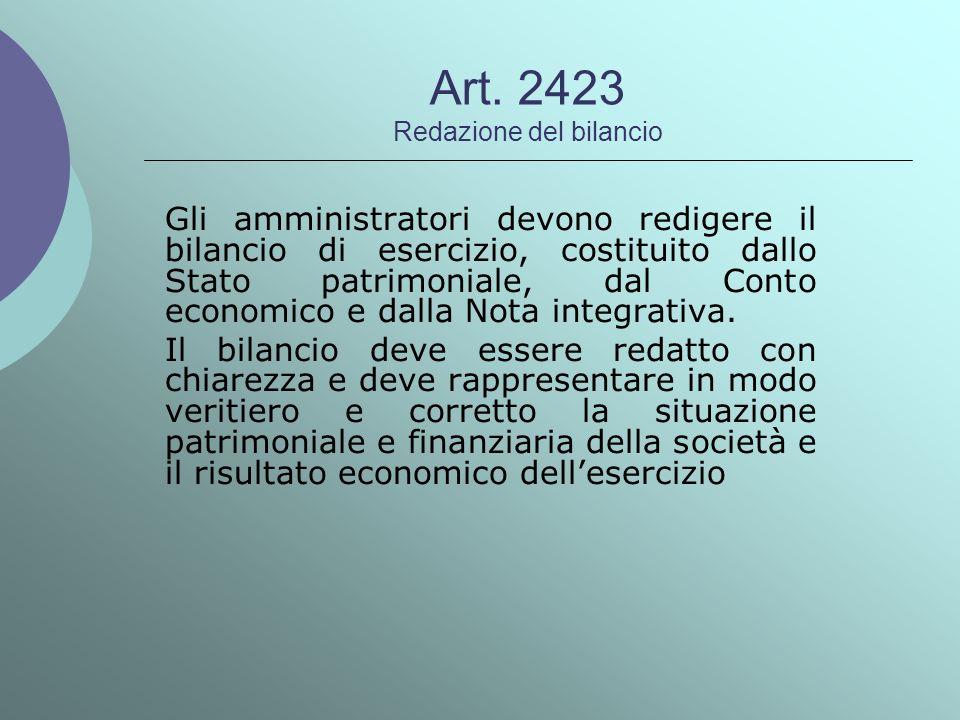 Art. 2423 Redazione del bilancio