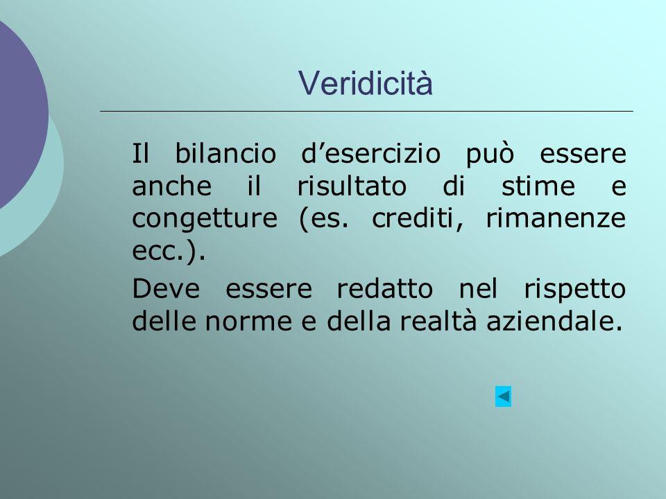 Veridicità Il bilancio d'esercizio può essere anche il risultato di stime e congetture (es. crediti, rimanenze ecc.).
