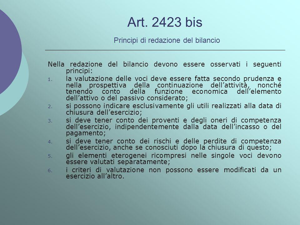 Art. 2423 bis Principi di redazione del bilancio