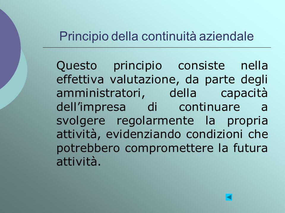 Principio della continuità aziendale