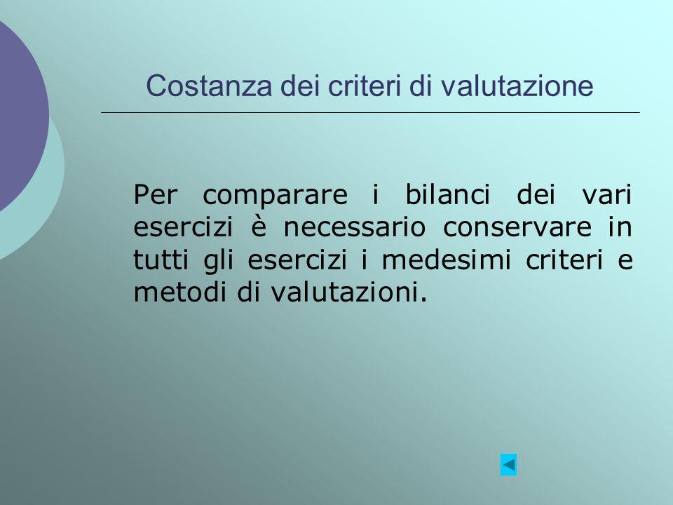 Costanza dei criteri di valutazione