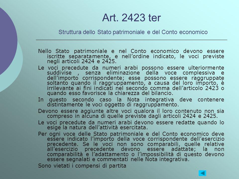 Art. 2423 ter Struttura dello Stato patrimoniale e del Conto economico