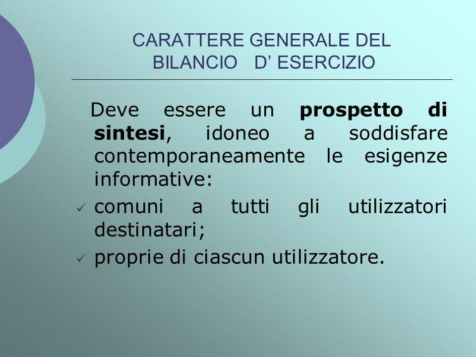 CARATTERE GENERALE DEL BILANCIO D' ESERCIZIO