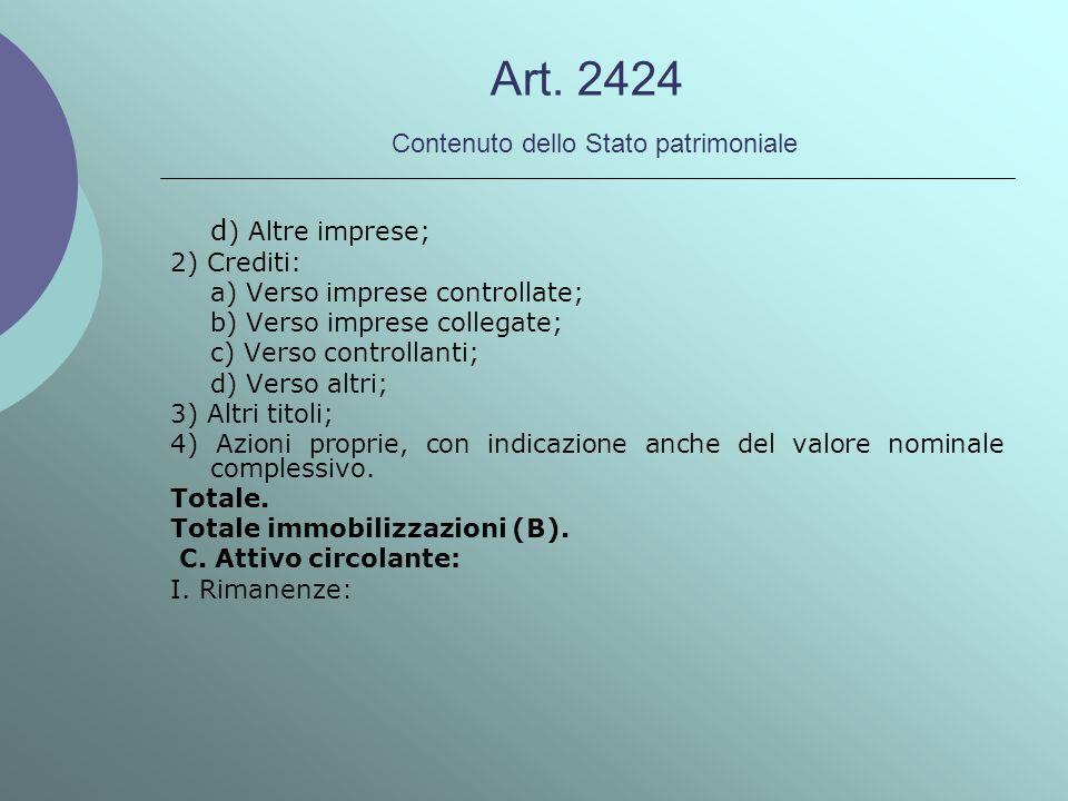 Art. 2424 Contenuto dello Stato patrimoniale