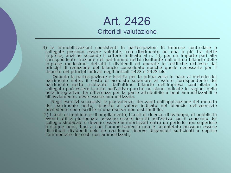 Art. 2426 Criteri di valutazione