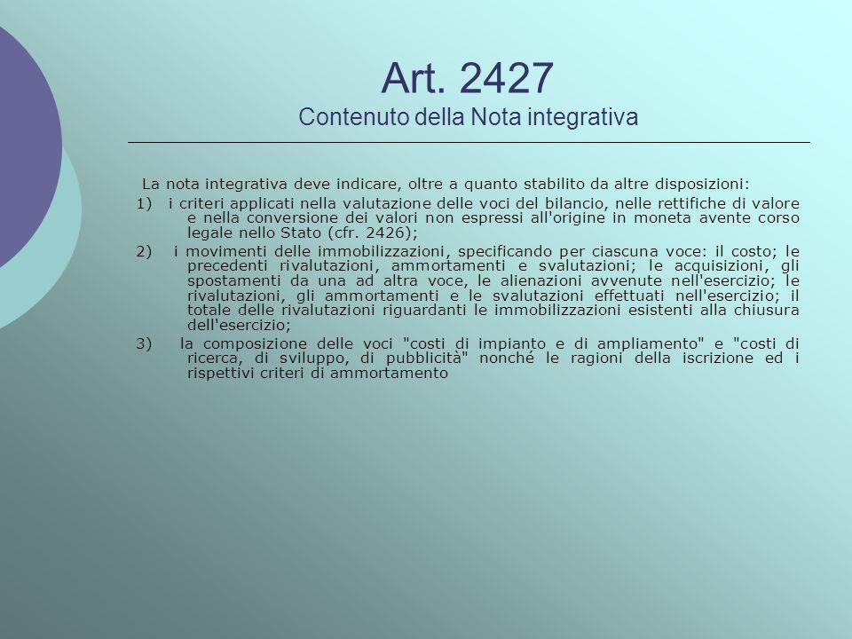Art. 2427 Contenuto della Nota integrativa