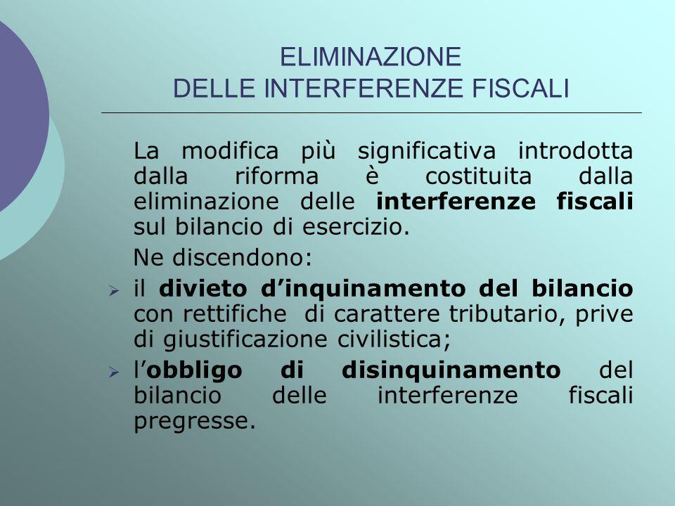 ELIMINAZIONE DELLE INTERFERENZE FISCALI