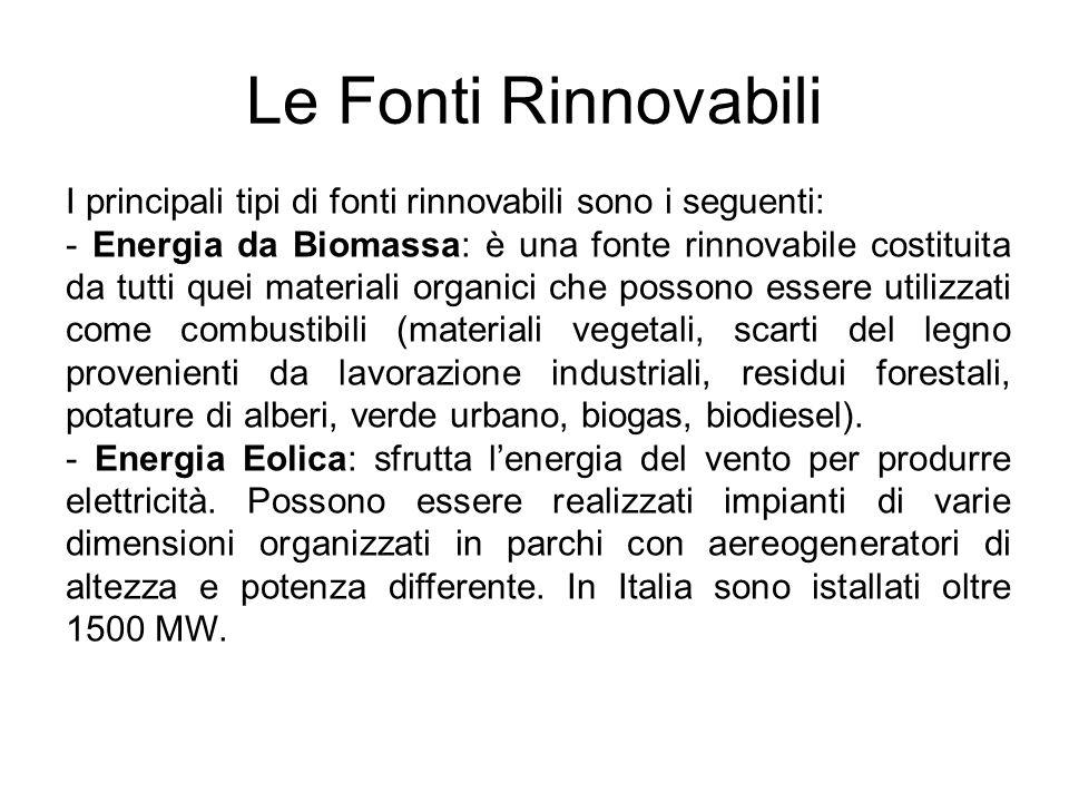 Le Fonti Rinnovabili I principali tipi di fonti rinnovabili sono i seguenti: