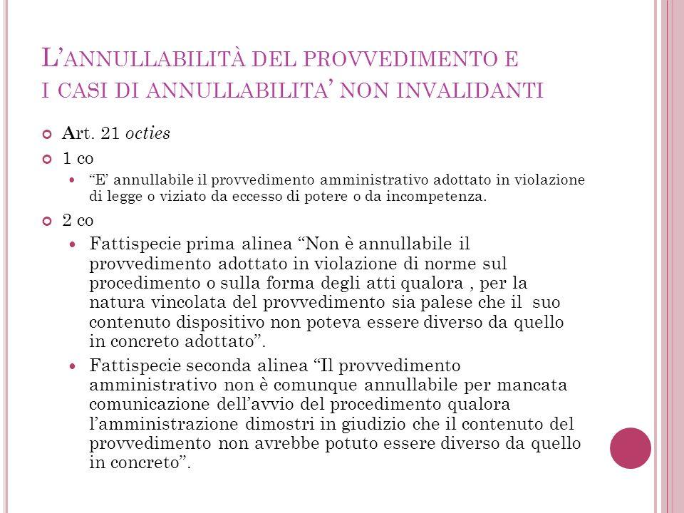 L'annullabilità del provvedimento e i casi di annullabilita' non invalidanti