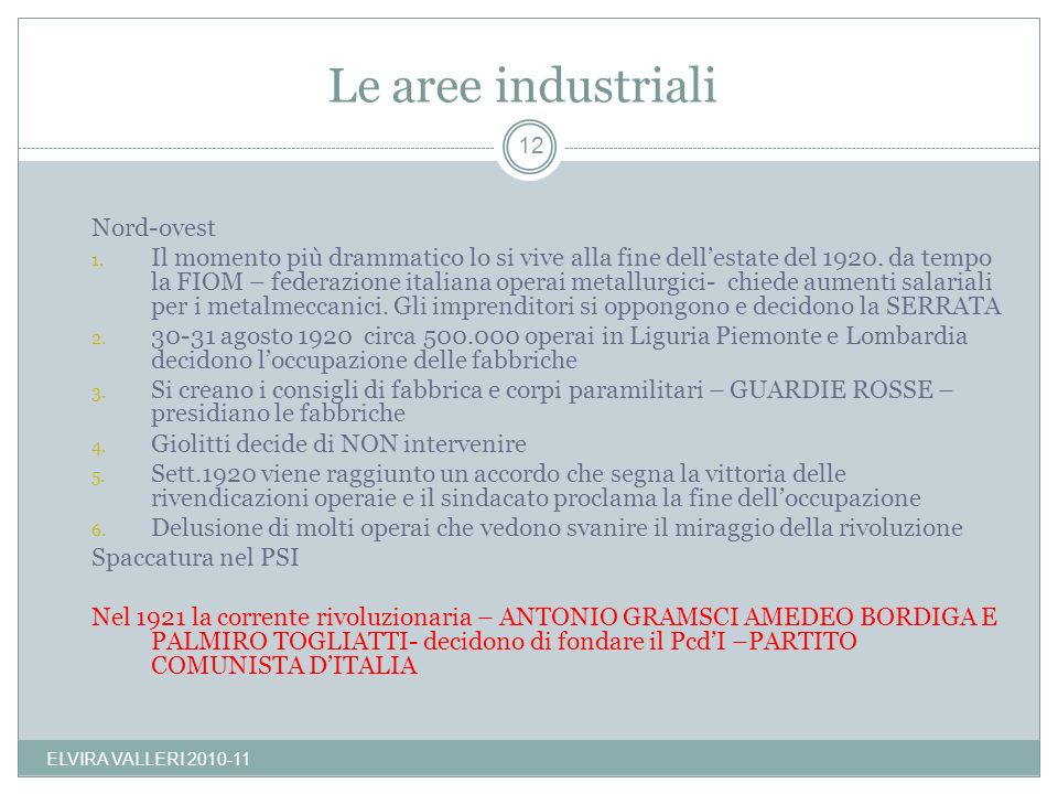 Le aree industriali Nord-ovest
