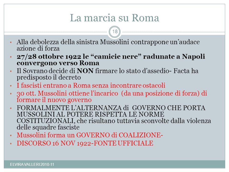 La marcia su Roma Alla debolezza della sinistra Mussolini contrappone un'audace azione di forza.