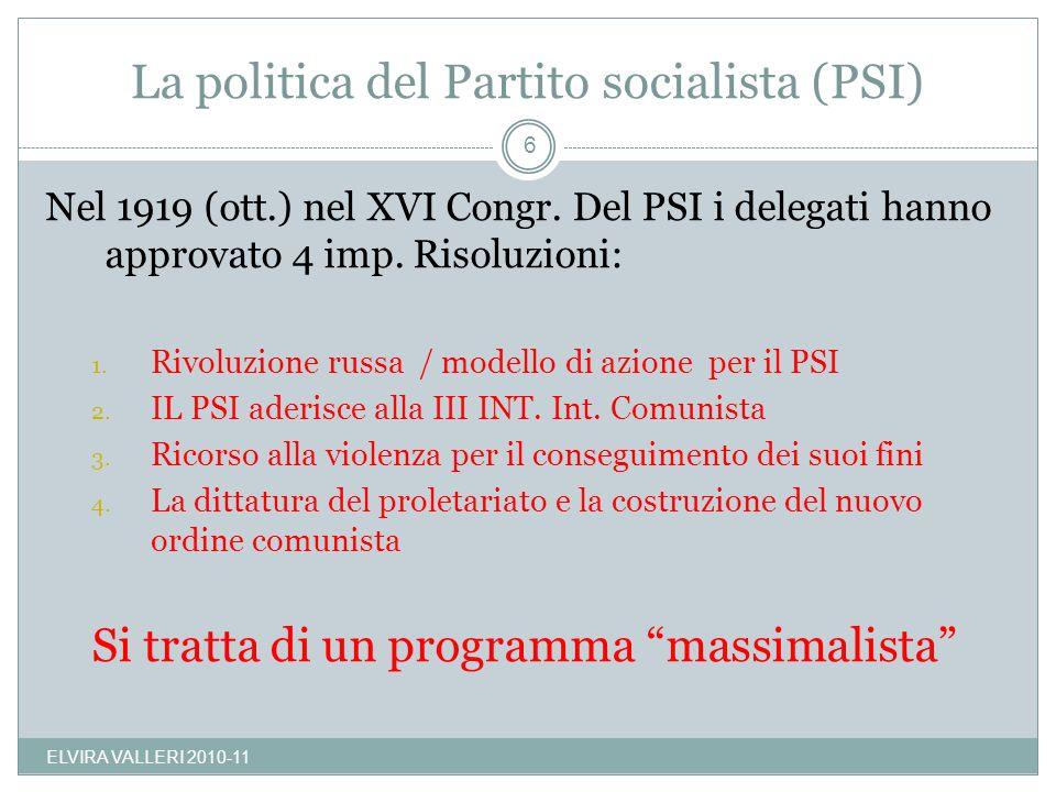 La politica del Partito socialista (PSI)