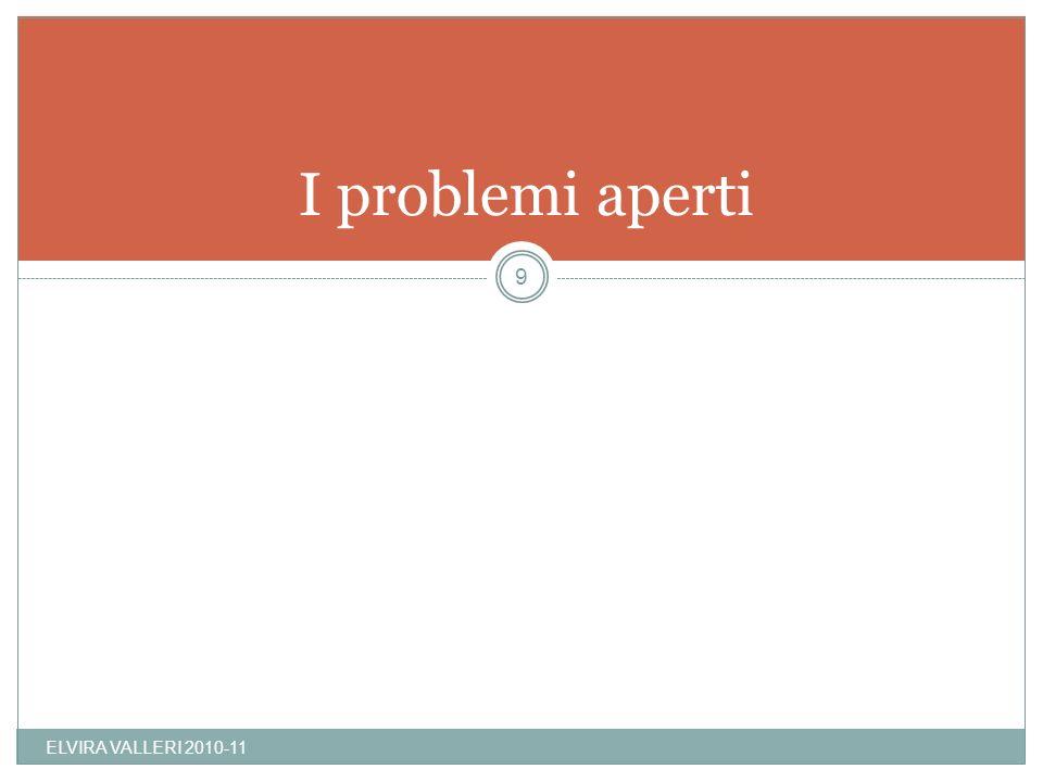 I problemi aperti ELVIRA VALLERI 2010-11