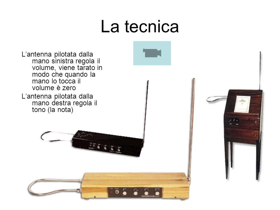 La tecnica L'antenna pilotata dalla mano sinistra regola il volume, viene tarato in modo che quando la mano lo tocca il volume è zero.