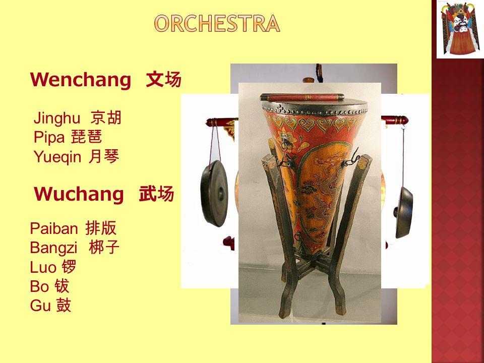 Orchestra Wenchang 文场 Wuchang 武场 Jinghu 京胡 Pipa 琵琶 Yueqin 月琴 Paiban 排版