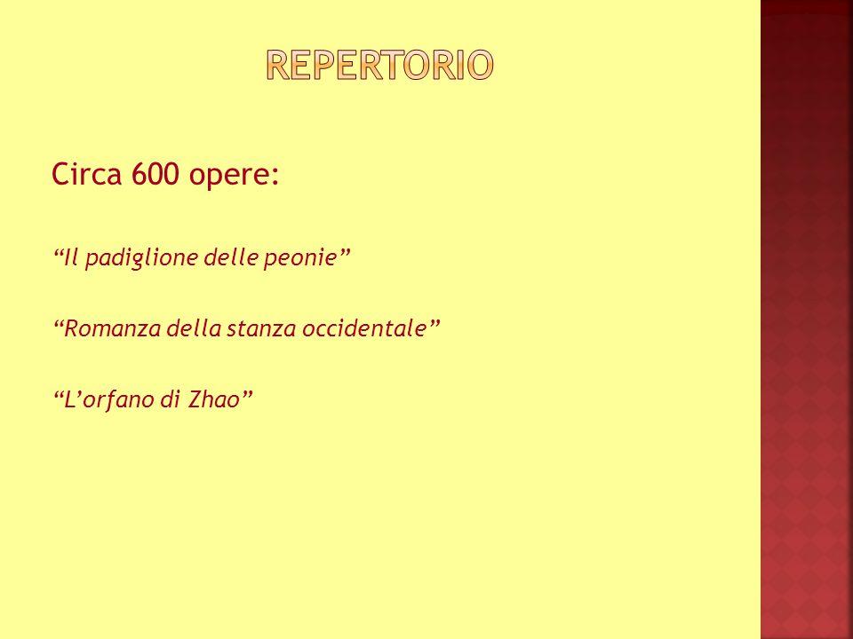 Repertorio Circa 600 opere: Il padiglione delle peonie