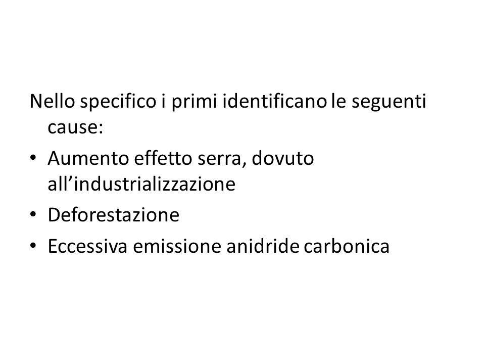 Nello specifico i primi identificano le seguenti cause: